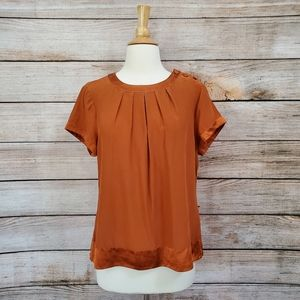 Banana Republic Burnt Orange Silk Button Blouse